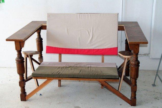 Spisebord ombygget til sofa. Foto: Marie Norman Nyeng