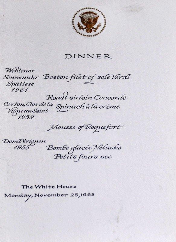 11.22.1963, 2009. Menu fra den aflyste statsmiddag i The White House (Foto: Gurli Sørensen)