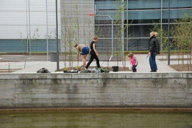 Guerilla Gardening beplantede områderne mellem Ørestadens kølige faceder. (Foto: Pressefoto / Råderum)