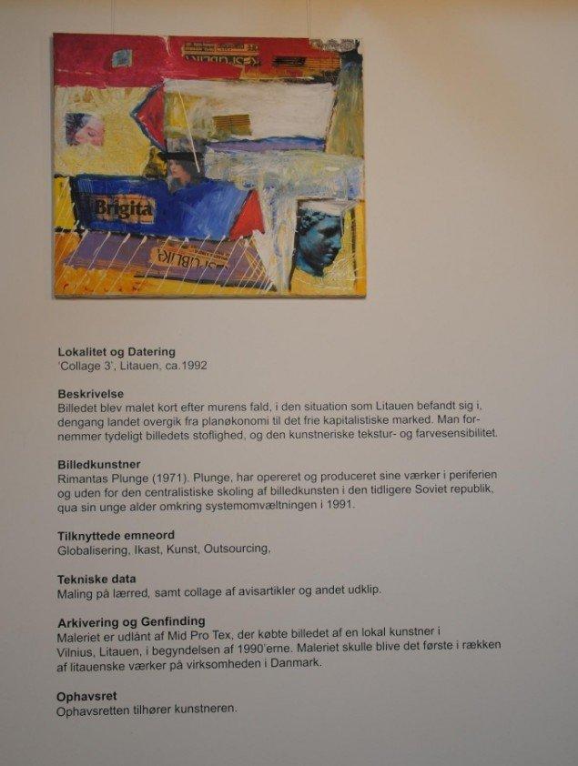 Maleri af litauisk kunstner med følgetekst, Kunstpakhuset. Foto: Bente Jensen