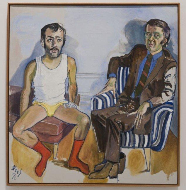 David Bourdon and Gregory Battcock, 1970. Ofte maler Neel et psykologisk rum omkring sine figurer. Her kæreste- og kritiker parret Bourdon og Battock. (Pressefoto)