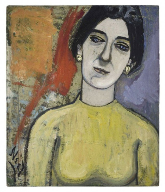Dore Ashton, 1952. Kunsthistorikeren Ashton forelæser om den moderigtige abstrakte ekspressionisme. Neel får sidste ord ved malerisk at parodiere samme kunstretning. (Pressefoto)
