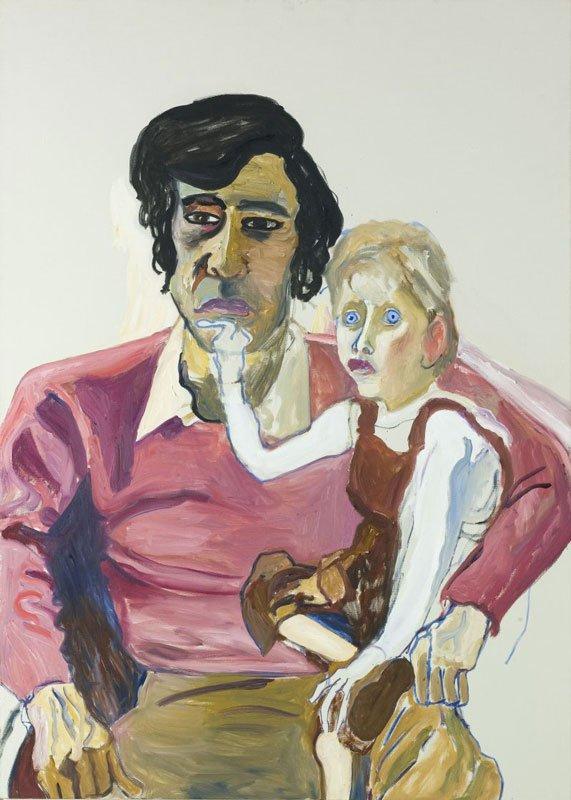 Don Perlis and Jonathan, 1982. Et moderne madonnaportræt af en far, maleren Perlis, med sin spastisk lammede søn. (Pressefoto)