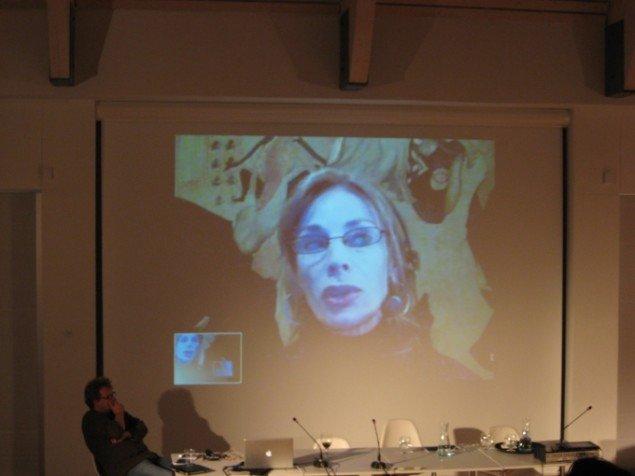 Natasha Vita-More med på et Skype-link. Foto: Jeppe Lentz