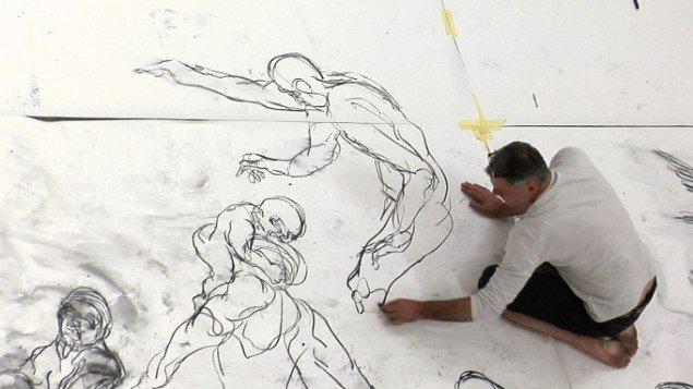 Christian Lemmerz' tegning til udstillingen på ARoS. Foto: Lars Skov
