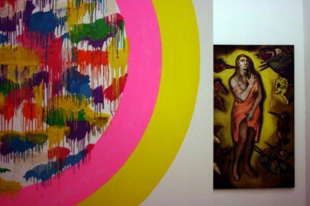 Udstillingsview: Josefine Lyche, Vex'd Garden Sphere, 2010. Vanessa Baird, Seven steps to Heaven, 1992