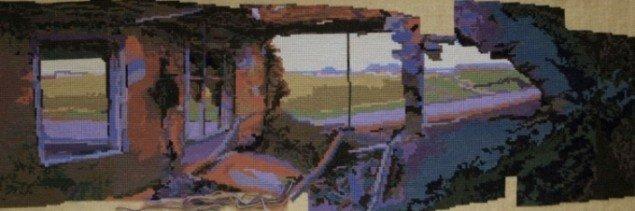 Ruinpanorama, stramajbroderi af Thomas Wolsing. Presse