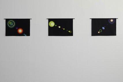Henriette Heise: Lens flare, 2009. Serien Lens flare består af  filtcollager, linoleumssnit og en videoinstallation og har en central betydning for udstillingen. (Foto: Anders Sund Berg)