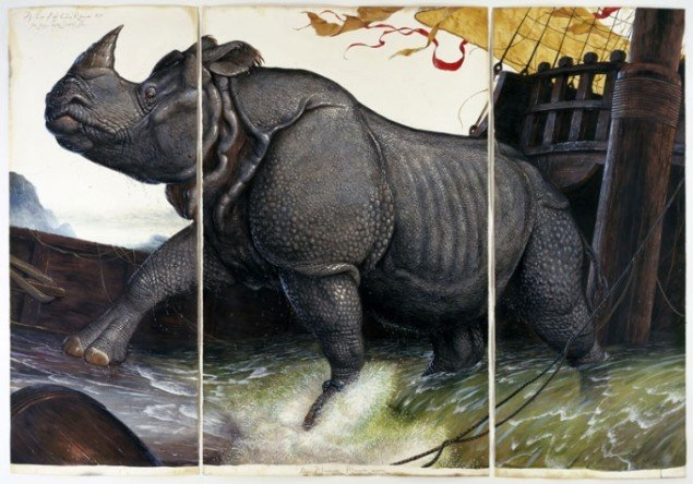Walton Ford: Loss of the Lisbon Rhinoceros, 2008 (Pressefoto, courtesy Paul Kasmin Gallery)