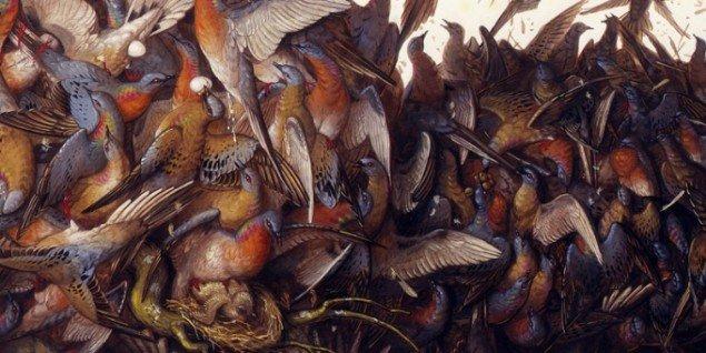 Walton Ford: Falling Bough, 2002 (detalje). Her optræder naturen fra sin mørkeste side.