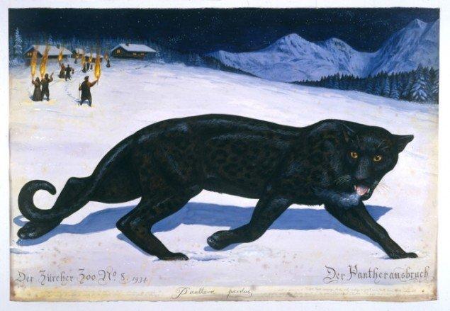 Walton Ford: Der Pantherausbruch, 2001. Gengivelse af sensationshistorien fra 1930ernes Zürich. (pressefoto, Courtesy Paul Kasmin Gallery)