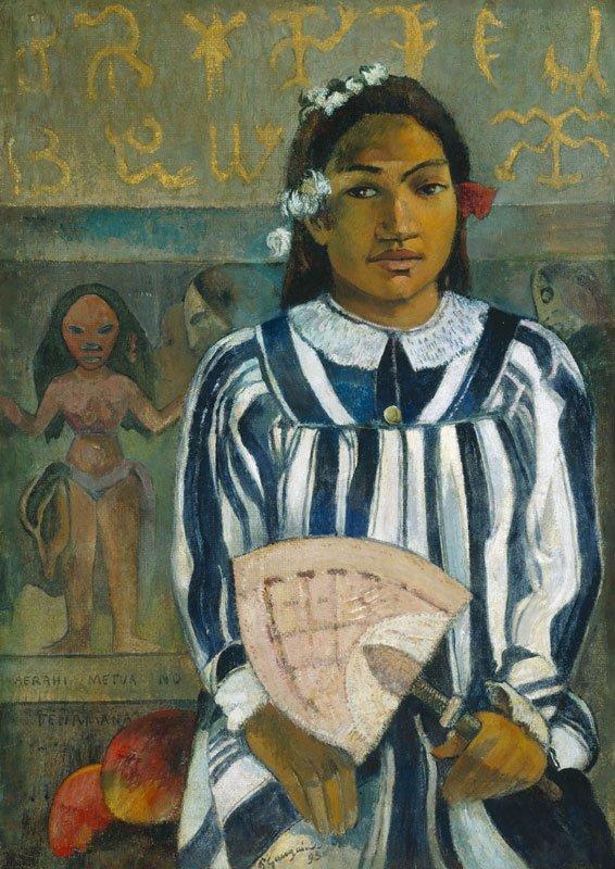 Paul Gauguin: Merahi metua no Tehamana (Les Aїeux de Tehamana / The Ancestors of Tehamana or Tehamana has many Parents) 1893, The Art Institute of Chicago. Gift of Mr and Mrs Charles Deering McCormick
