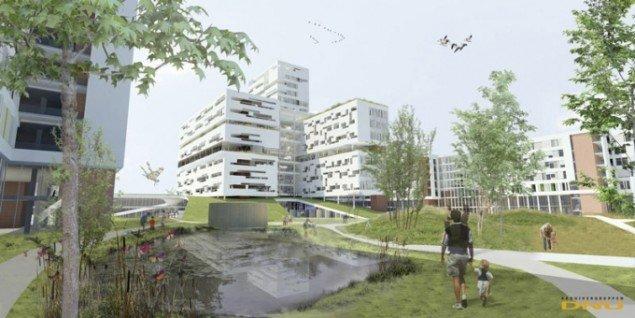 Perspektiv fra parken (prospekt fra projektet, DNU)