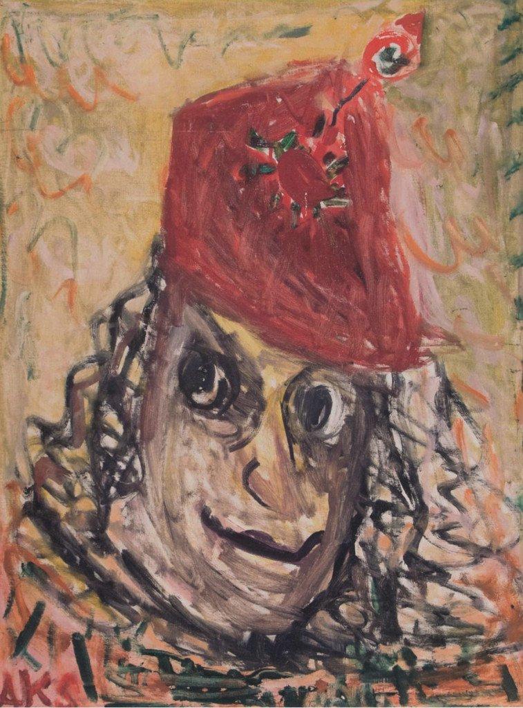 Anna Klindt Sørensen: Selvportræt, ca. 1975. Olie på lærred. 90,5 x 66,5 cm.