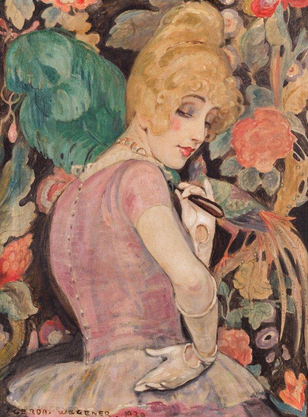 Gerda Wegener:Lili med fjervifte, 1920. Foto: Morten Pors