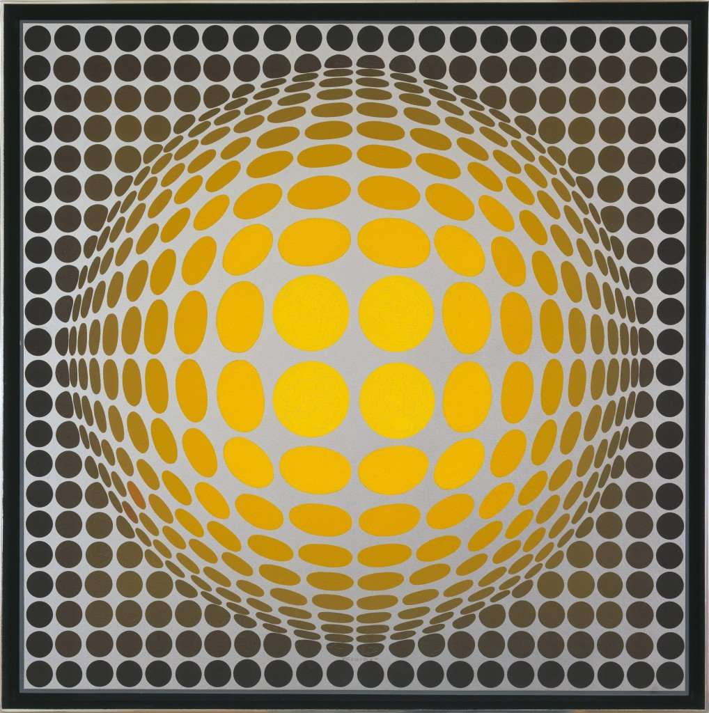 Victor Vasarely:Vega Or, 1969 Olie på masonit, 50 × 48 cm Collection Simonyi, Seattle Foto: Eduardo Calderón