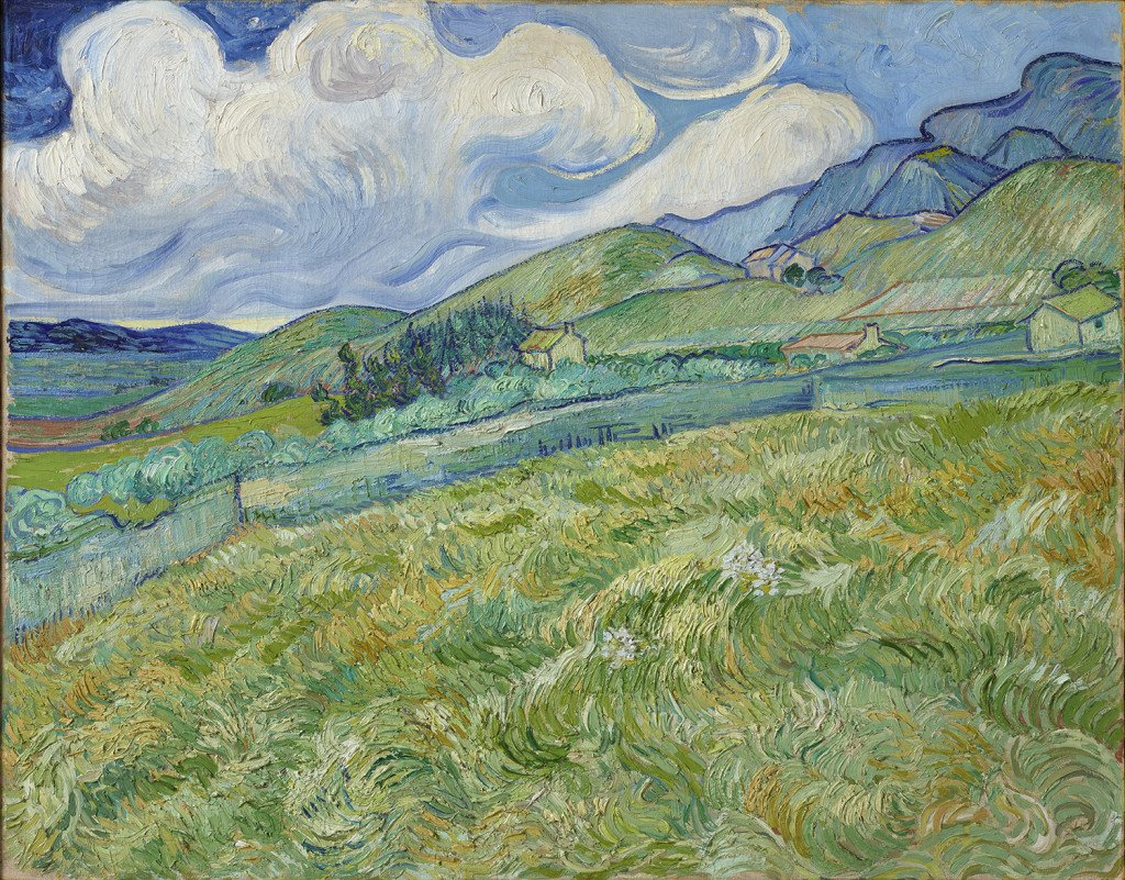 Vincent van Gogh: Landskab fra Saint-Rémy, 1889. Olie på lærred, 70.5 x 88.5 cm. Ny Carlsberg Glyptotek