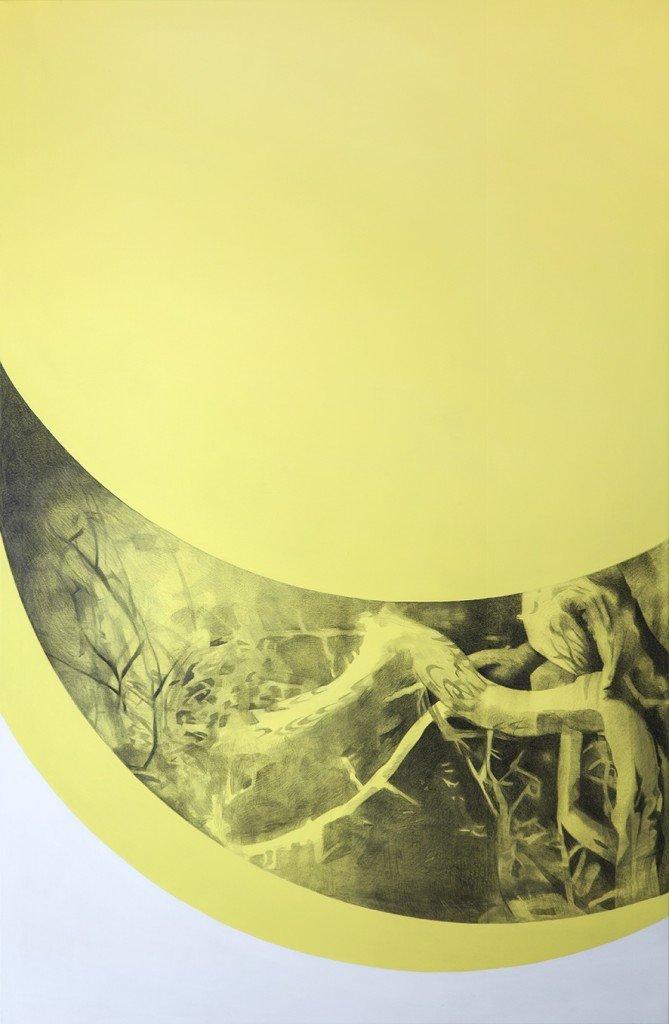 Lisbeth Eugenie Christensen: Skovfyrre, 2015, blyant og akryl på lærred, str. 244 x 160 cm.