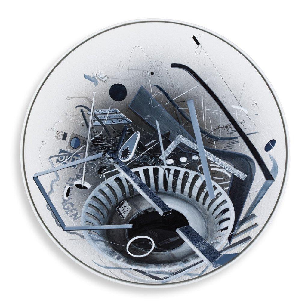 Trine Boesen: Grey Scale bl.teknik på lærred, Ø65 cm