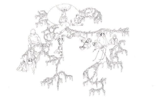 Moderne mytologi i tuschtegning