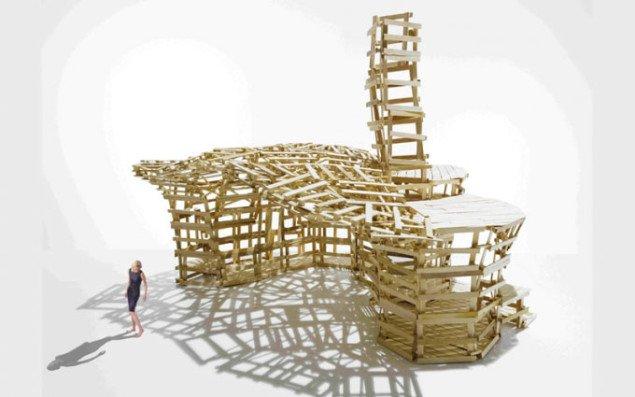 Skulpturelt byggeri af EU-paller