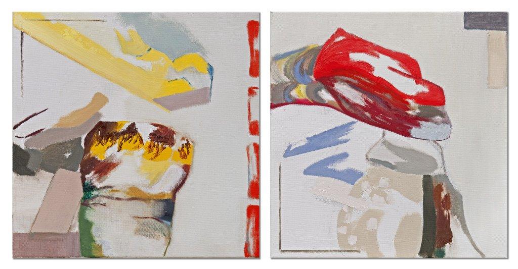 Helga Bønsvig : Gul og rød, olie på lærred, 40 x 82 cm. Foto: Kunstetagerne Hobro.