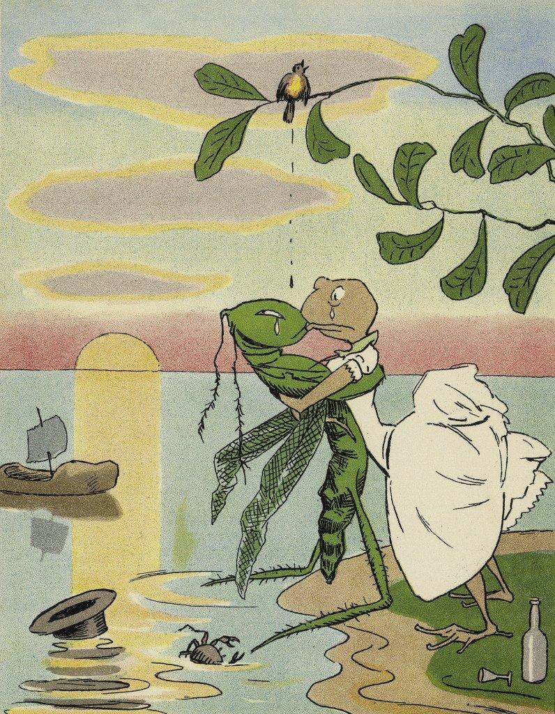 "Th. Kittelsen:Syg kærlighed. Illustration fra bogen ""Har dyrene sjæl?"". 1893"