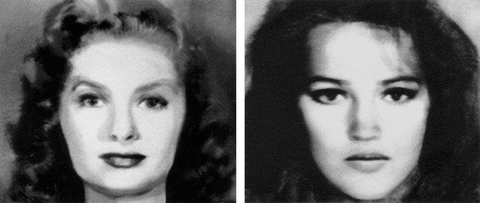 Nancy Burson: First and Second Beauty Composites (Left: Bette Davis, Audrey Hepburn, Grace Kelly, Sophia Loren, Marilyn Monroe. Right: Jane Fonda, Jacqueline Bisset, Diane Keaton, Brooke Shields, Meryl Streep.), 1982. © Nancy Burson & ClampArt, NY
