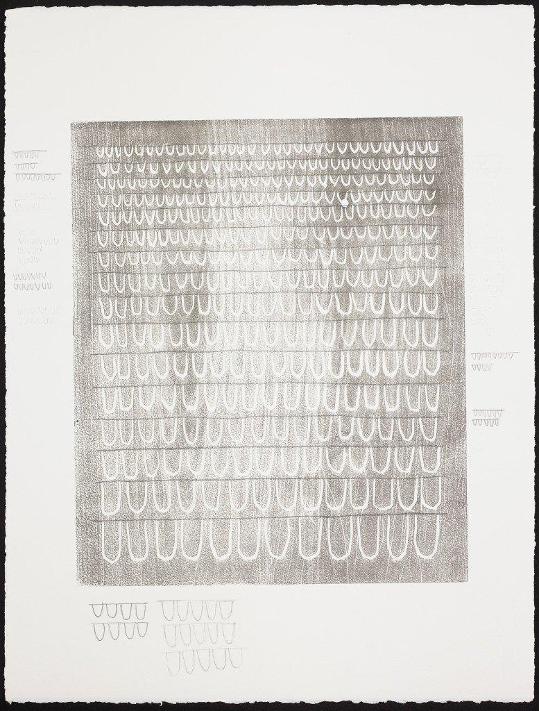 Clit-dick Register 1-22, 2014. Træsnit på papir, blyant. Foto: Anders Sune Berg