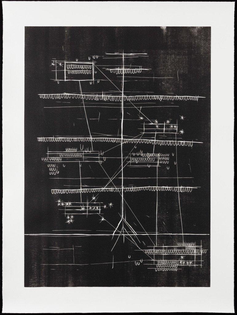 Jeg navigerer i kollisioner #1, 2014-2015. Træsnit på papir. 101 x 75 cm. Foto: Anders Sune Berg