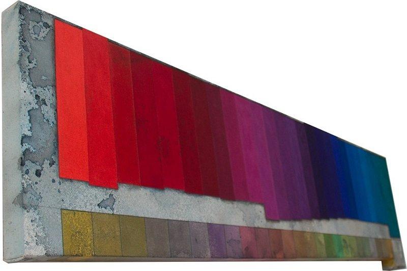 Dark Minor Keyboard, 2015. 45 x 145 cm, akrylmaling, akvarel, grafit, pastelblyant og lak på lærred. Foto: Tor Bagger