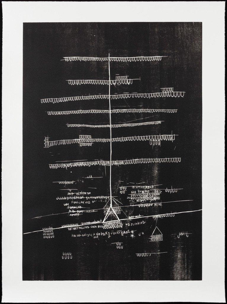 Jeg navigerer i kollisioner #2, 2014-2015. Træsnit på papir. 101 x 75 cm. Foto: Anders Sune Berg
