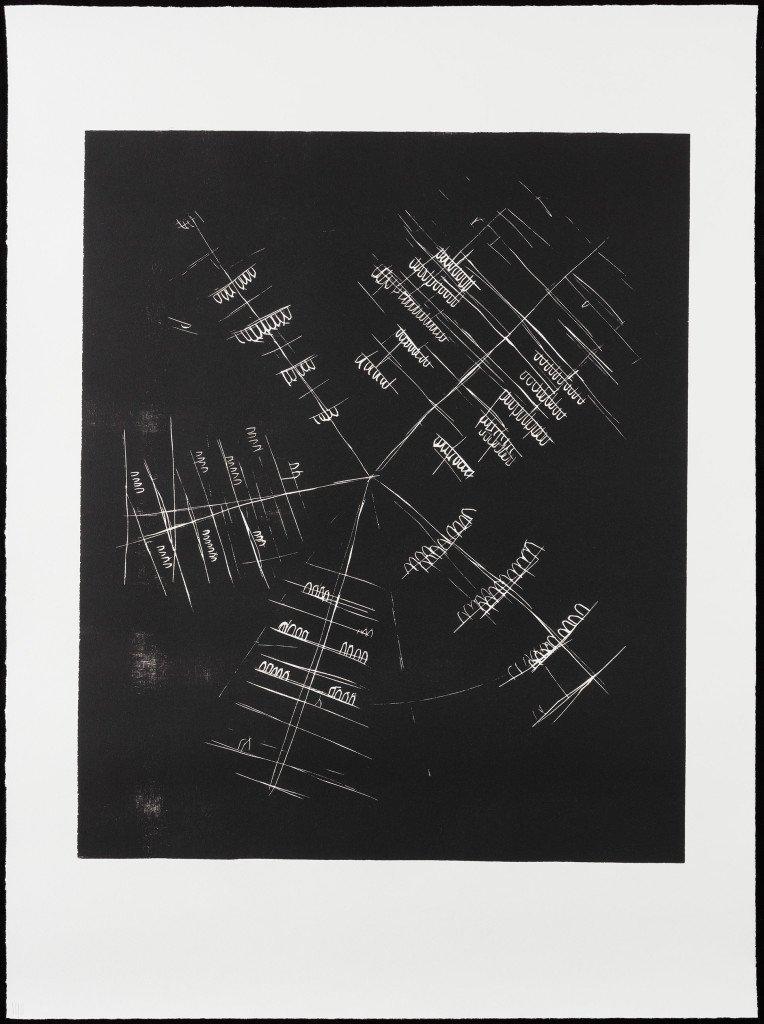 Jeg navigerer i kollisioner #5, 2014-2015. Træsnit på papir. 101 x 75 cm. Foto: Anders Sune Berg
