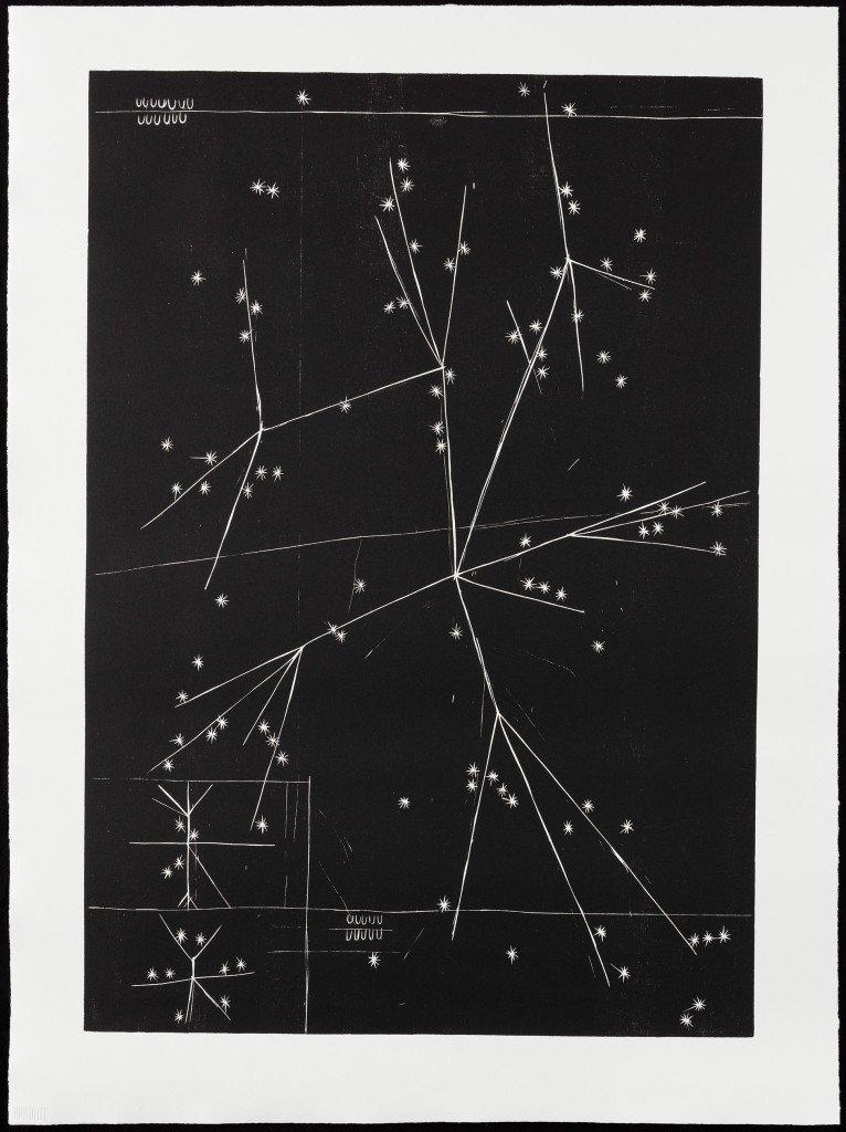 Jeg navigerer i kollisioner #12, 2014-2015. Træsnit på papir. 101 x 75 cm. Foto: Anders Sune Berg