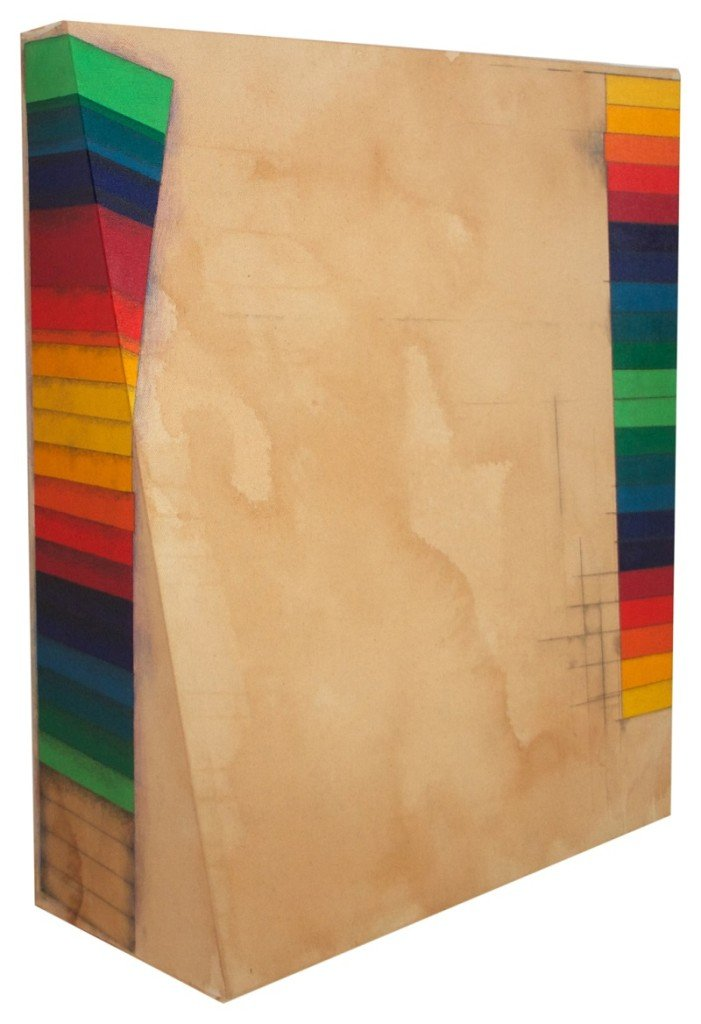 Educate (Energize), 2014. 55 x 50 cm, akrylmaling, kaffe, grafit og lak på lærred. Foto: Tor Bagger