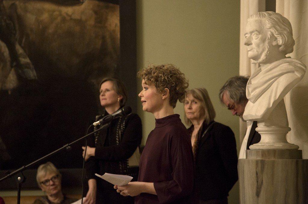 Birgitte Kirkhoff Eriksen under sin tale til jubilæumsfesten. Foto: Frida Gregersen