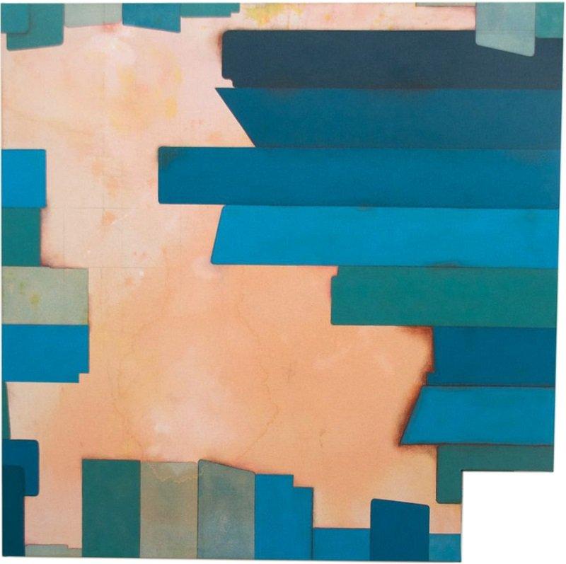 Square (Efficient), 2013. 90 x 90 cm, akrylmaling, kaffe, grafit og lak på lærred. Foto: Tor Bagger