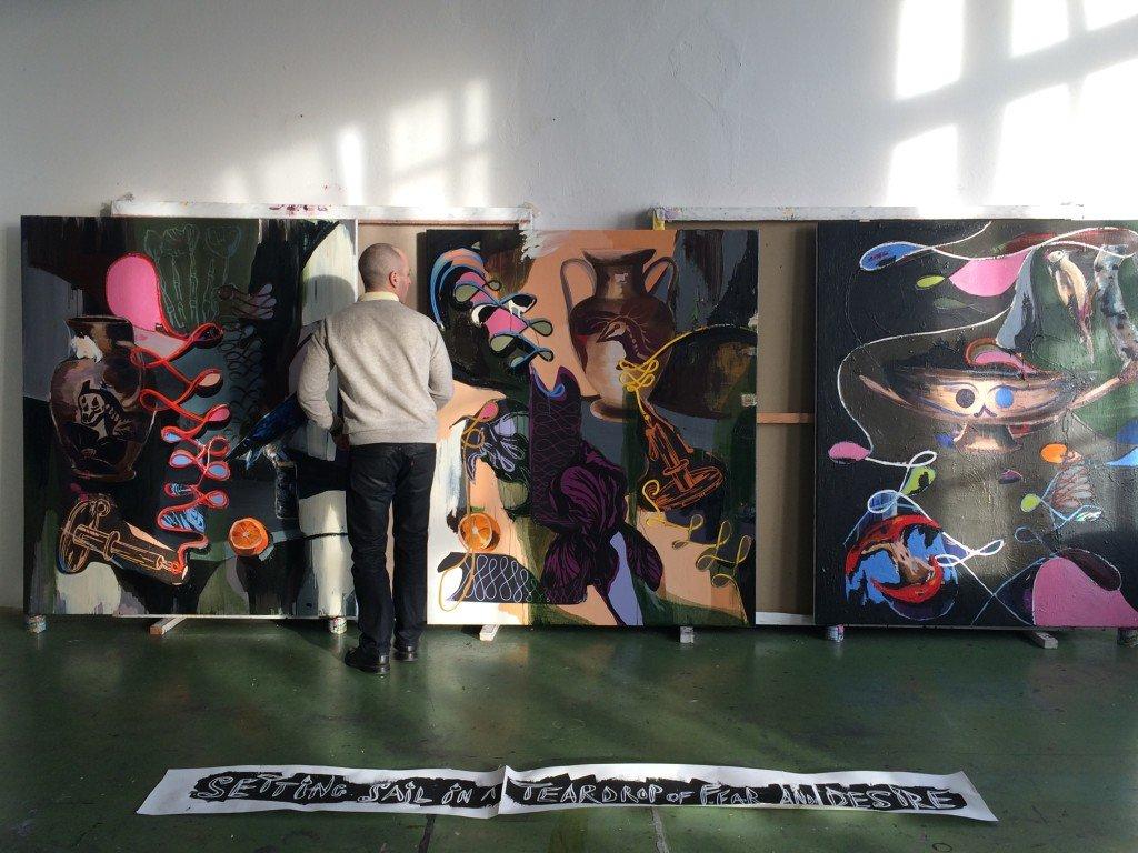 Adam Saks forbereder sin soloudstilling i Kunsthal NORD. Foto: Henrik Broch-Lips