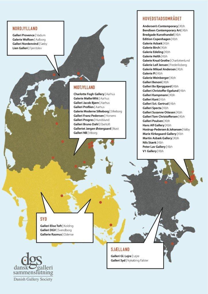 Oversigt over gallerier, som er medlemmer af Dansk Galleri Sammenslutning. Pressefoto