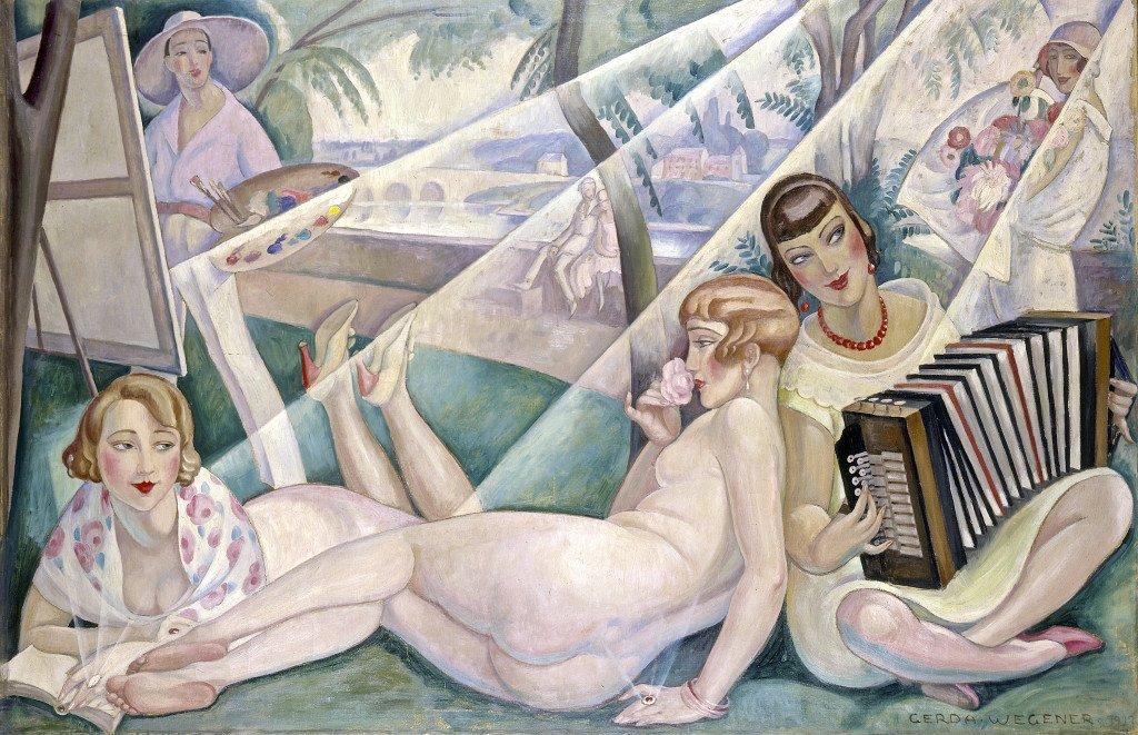 Gerda Wegener, En sommerdag (Einar Wegener ved staffeliet, Lili nøgen, Elna Tegner med akkordeon, forlæggerhustru fru Guyot med bog), 1927. Foto: © Bruun Rasmussen Kunstauktioner