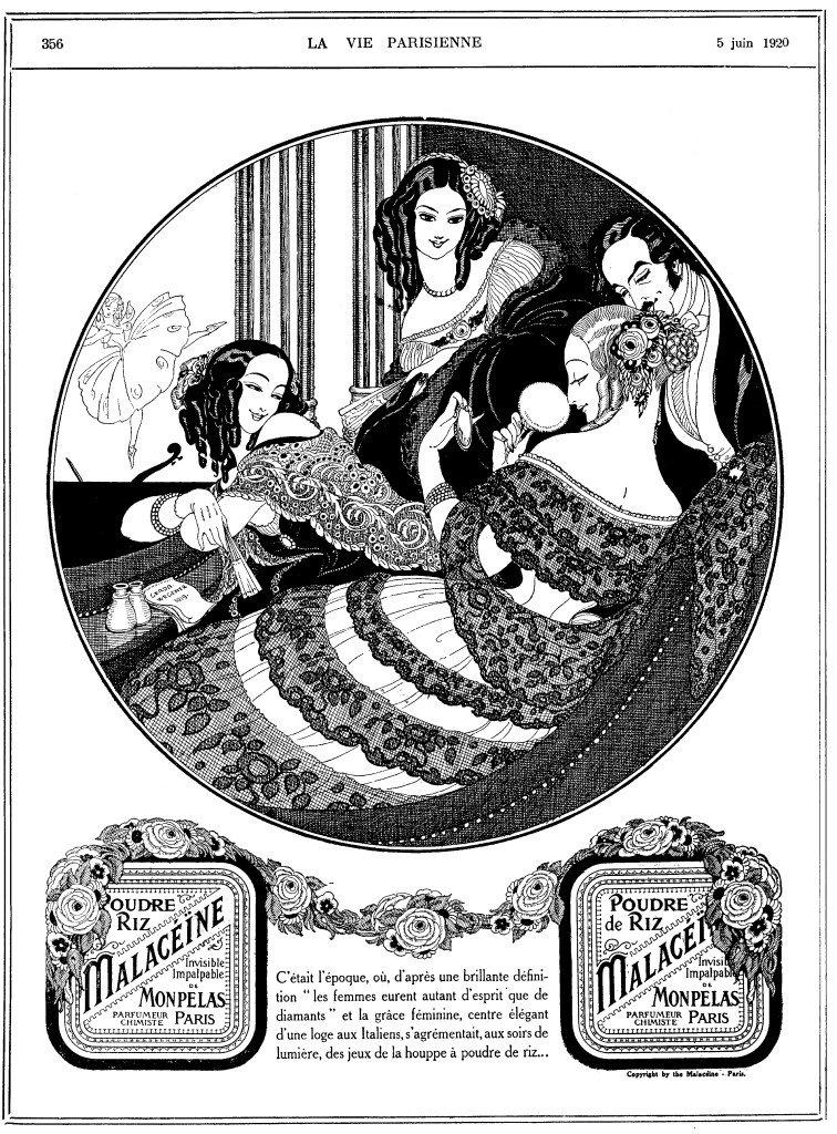 Gerda Wegener, reklame for pudder i det franske magasin La Vie Parisienne, 5. juni 1920