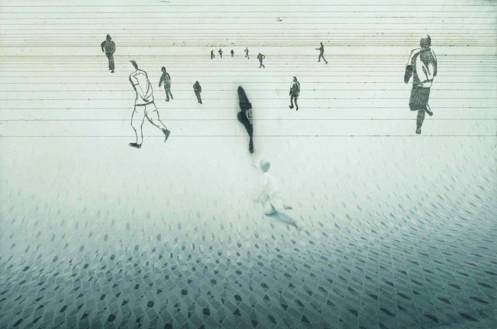 John Kørner: Up Against the Tsunami I-V,2015. Fotogravure og radering. Edition på 18