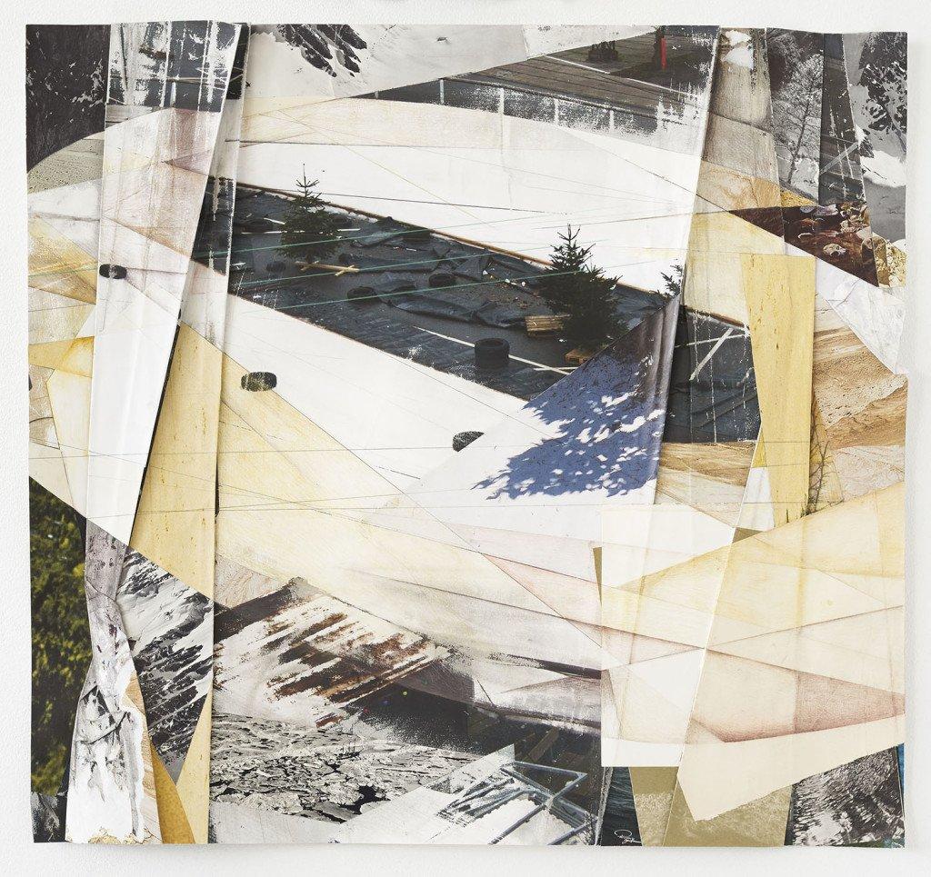Leisure Shapes III, 2015. Inkjet print, delvist vasket og slebet, blyant, tapet og fundne billeder. Foto: Jens Erdman Rasmussen