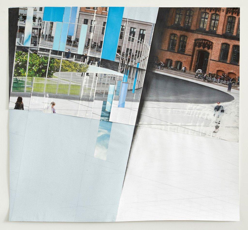 Leisure Shapes VII, 2015. Inkjet print, delvist vasket og slebet, blyant, tapet og fundne billeder. Foto: Jens Erdman Rasmussen