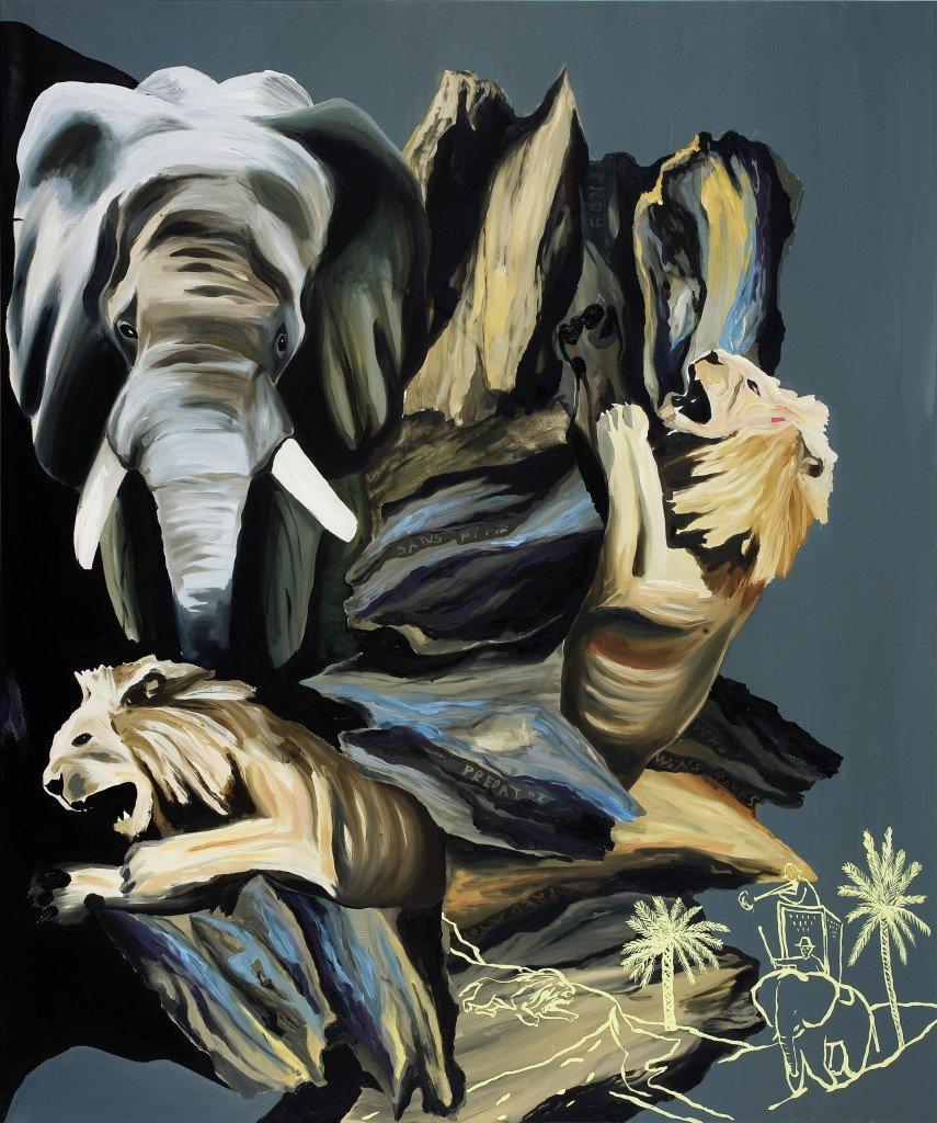 Who Dares Wins, 2008, Olie på lærred, 240 x 200 cm. Foto: Roman März