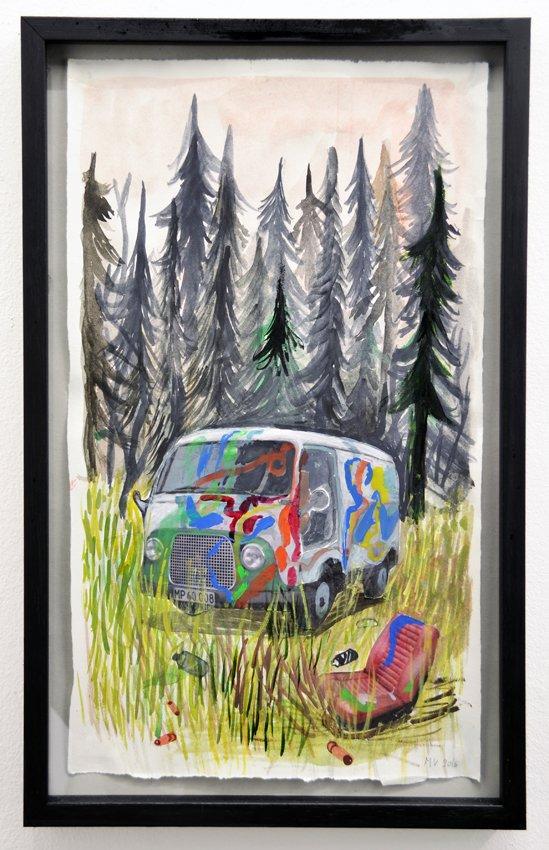 Mette Vangsgaard: Stedet vi legede, 2016. Akvarel, blæk og print på papir. Foto: Ole Haupt