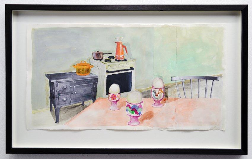 Mette Vangsgaard: Johannes æggebægre, 2016. Akvarel og print på papir. Foto: Ole Haupt