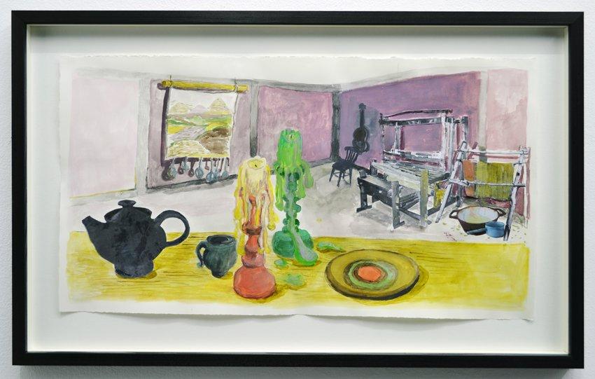 Mette Vangsgaard: Væveren Evas hjem, 2016. Akvarel og print på papir. Foto: Ole Haupt