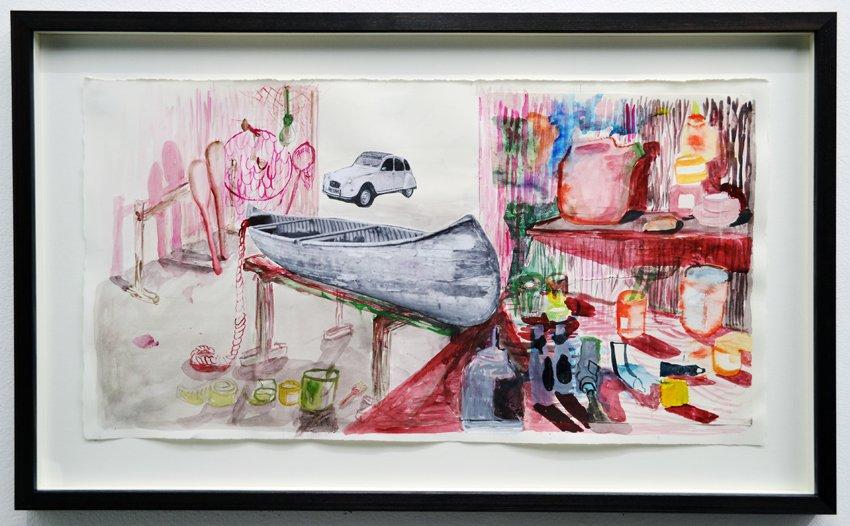Mette Vangsgaard: Værkstedet ved Havnen, 2016. Akvarel og print på papir. Foto: Ole Haupt