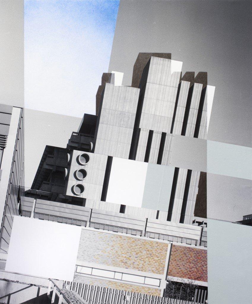 Slightly Tilted Concrete, 2013. Inkjet print, blyant og fundne billeder. Foto: Jens Erdman Rasmussen